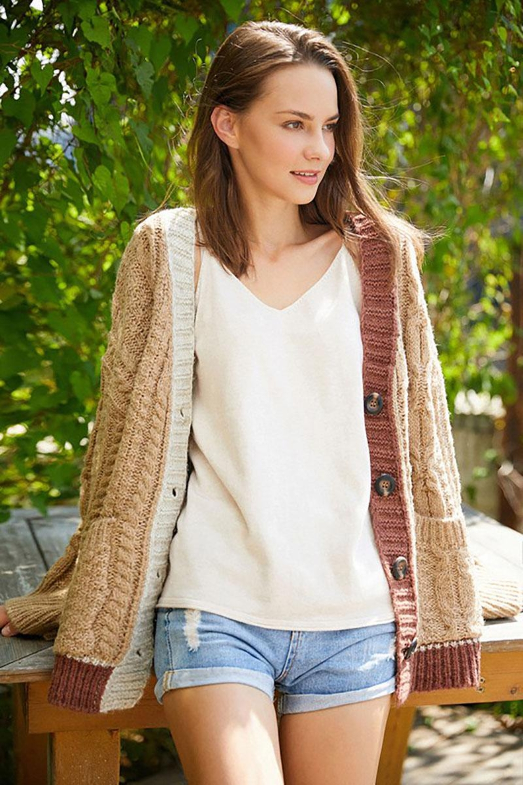 E Luna Soft And Cozy Colorblock Cable Knit Cardigan - Main Image