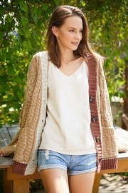 E Luna Soft And Cozy Colorblock Cable Knit Cardigan - Front cropped