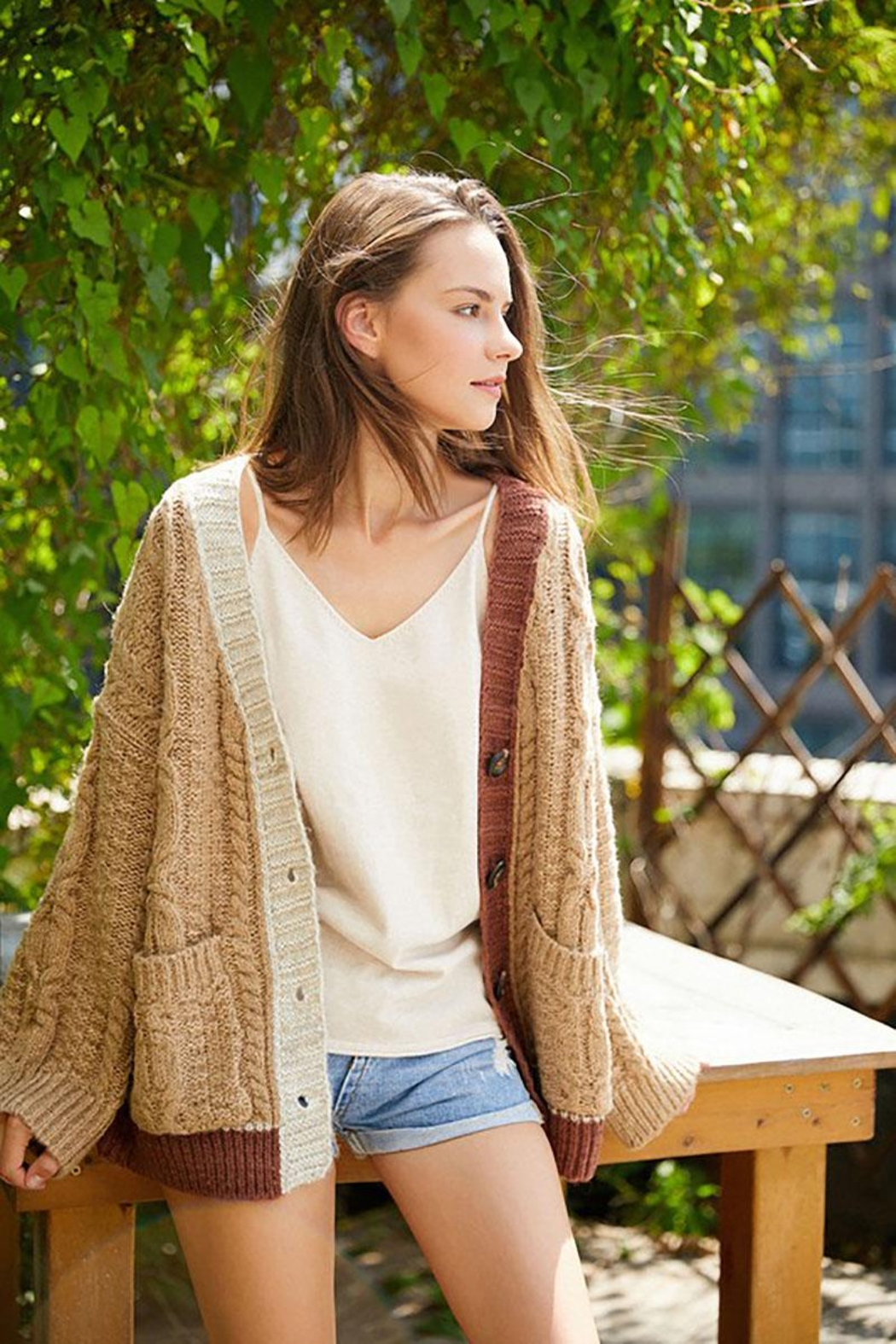 E Luna Soft And Cozy Colorblock Cable Knit Cardigan - Front Full Image
