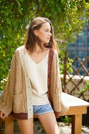 E Luna Soft And Cozy Colorblock Cable Knit Cardigan - Front full body