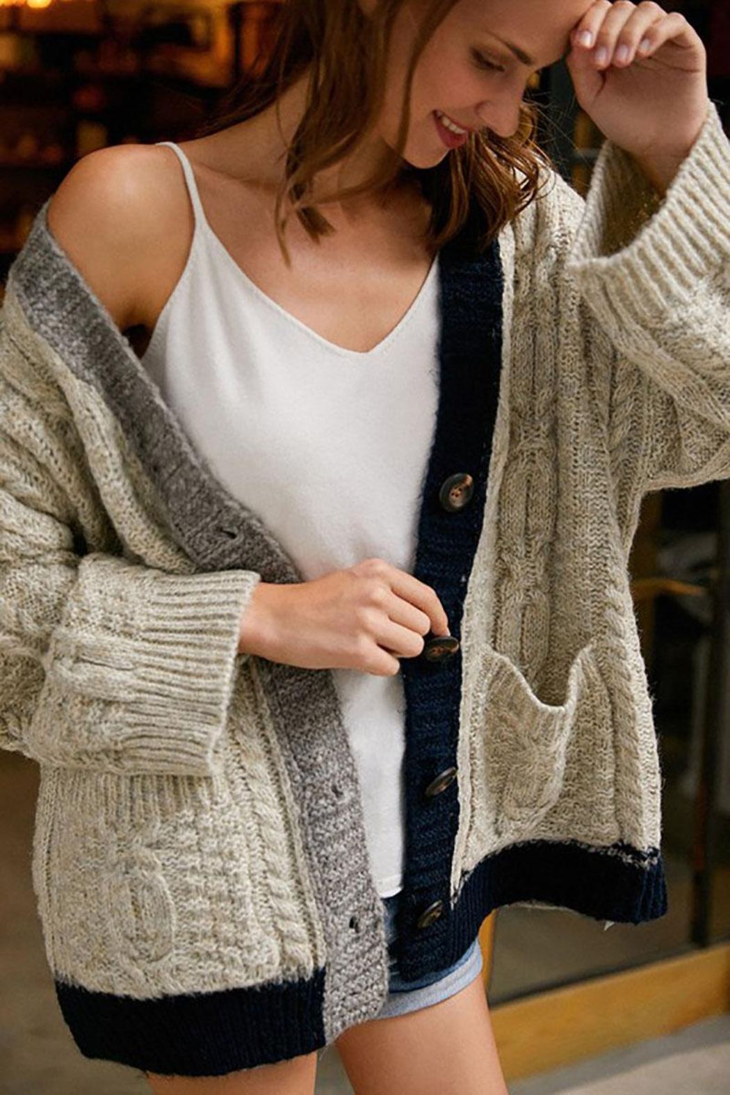 E Luna Soft And Cozy Colorblock Cable Knit Cardigan - Front Cropped Image
