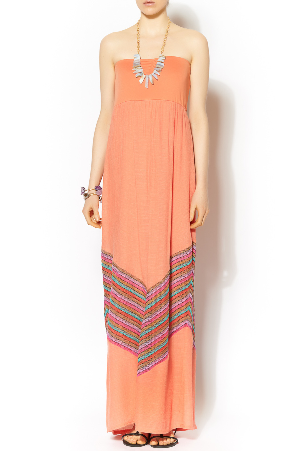 Missy Robertson Coral Chevron Detail Maxi - Front Cropped Image