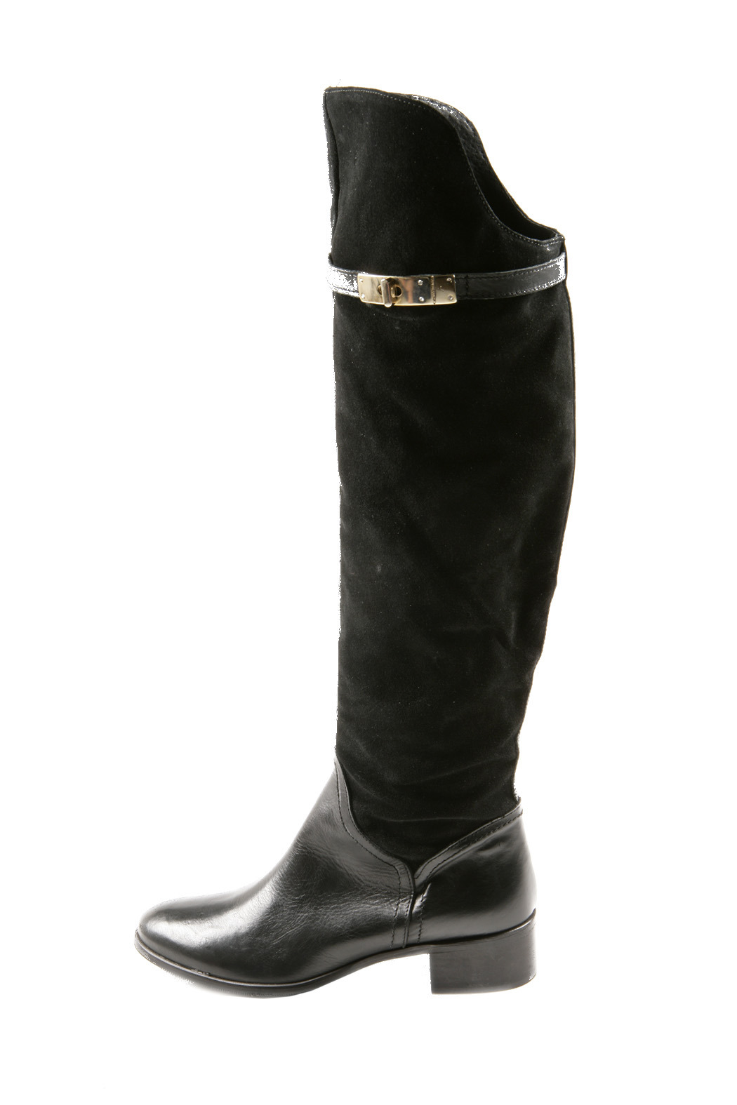 Lea-Gu Long Suede Leather Boots - Side Cropped Image