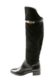 Lea-Gu Long Suede Leather Boots - Side cropped