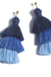 Shiraleah Earrings Aria 3-Drop Fringe Blues - Product Mini Image