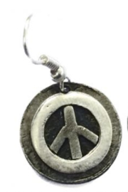 Anju EARRINGS PEACE SIGN PEWTER - Product Mini Image