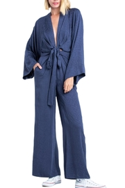 Earthy Chic Jacquard Print Long Sleeve Lara Jumpsuit - Front cropped