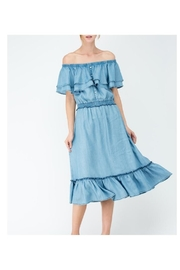 Earthy Chic Off-Shoulder Tencel Dress - Product Mini Image