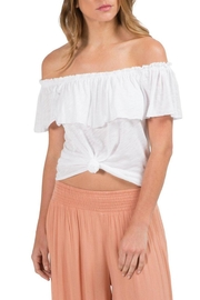 Earthy Chic Ruffle Off-Shoulder Top - Product Mini Image