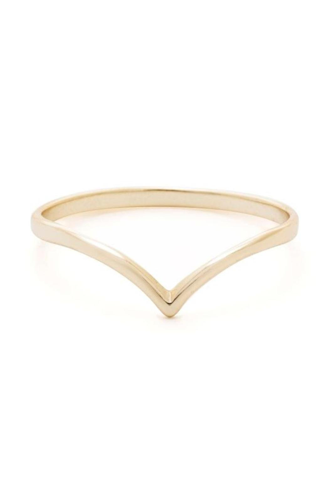 Earthy Chic Silver Chevron Ring - Front Cropped Image