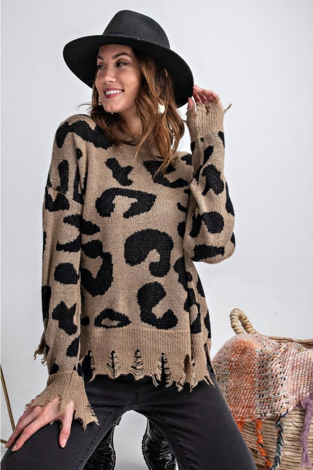 easel Animal Knit Sweater - Back Cropped Image