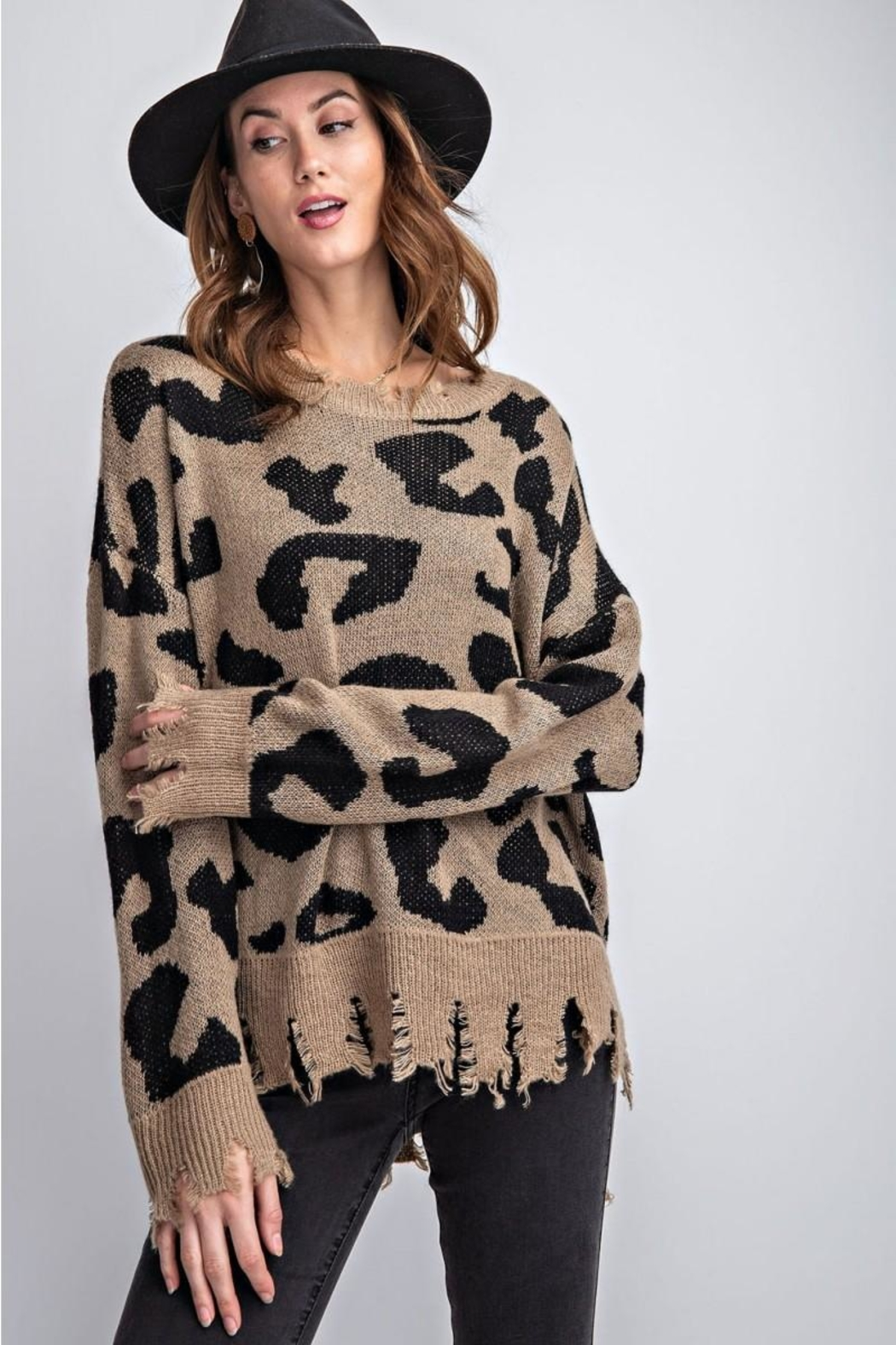 easel Animal Knit Sweater - Front Full Image