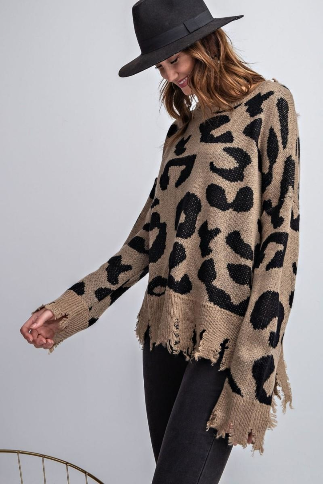 easel Animal Knit Sweater - Side Cropped Image