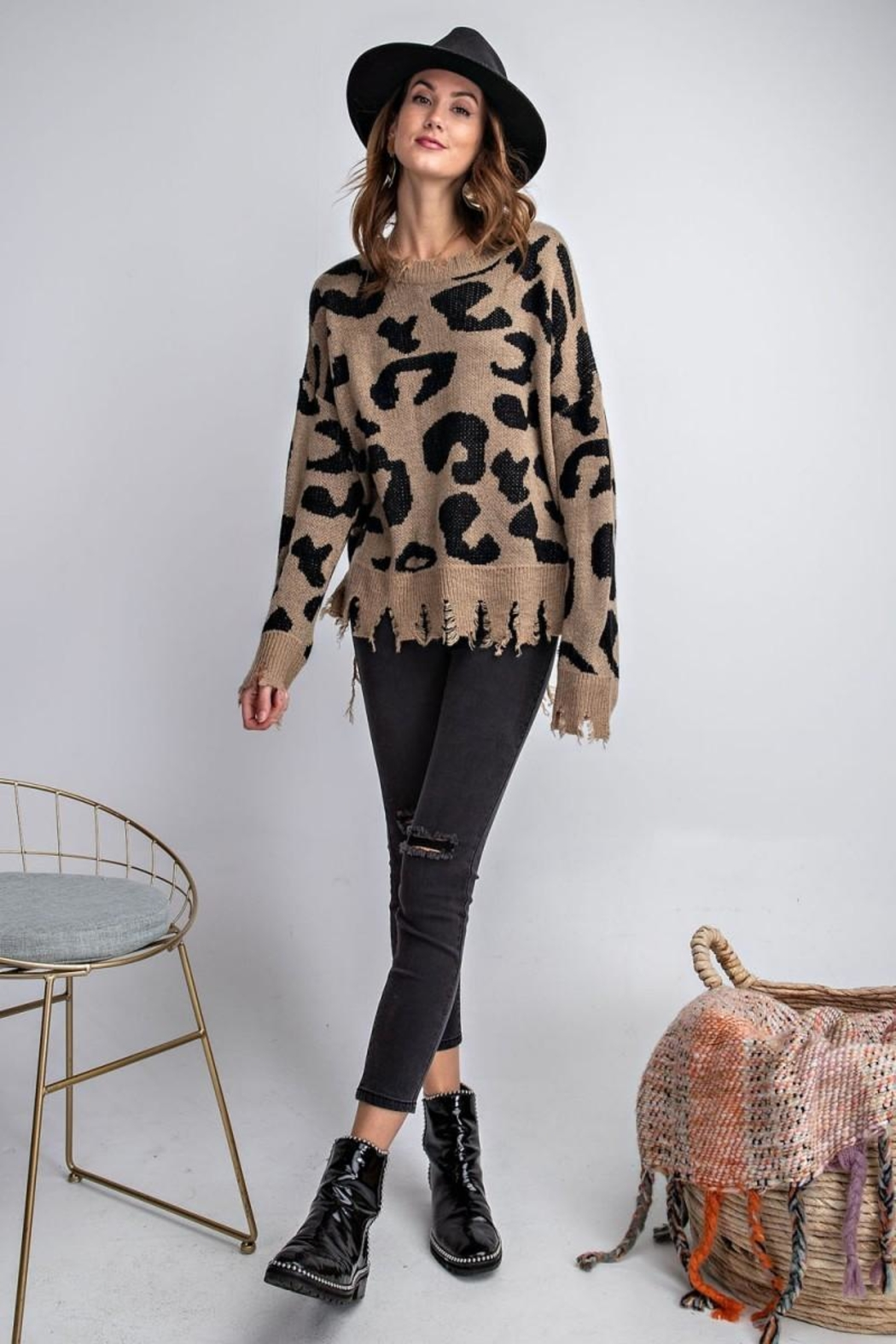 easel Animal Knit Sweater - Front Cropped Image