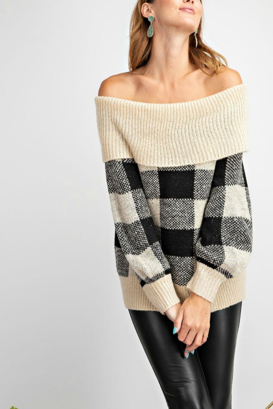 easel Argyle Sweater - Front Full Image