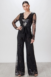easel Black Sequin Jumpsuit - Product Mini Image