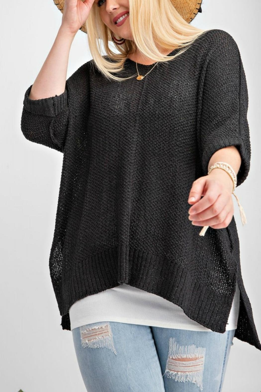 easel Black Sweater Top - Front Full Image