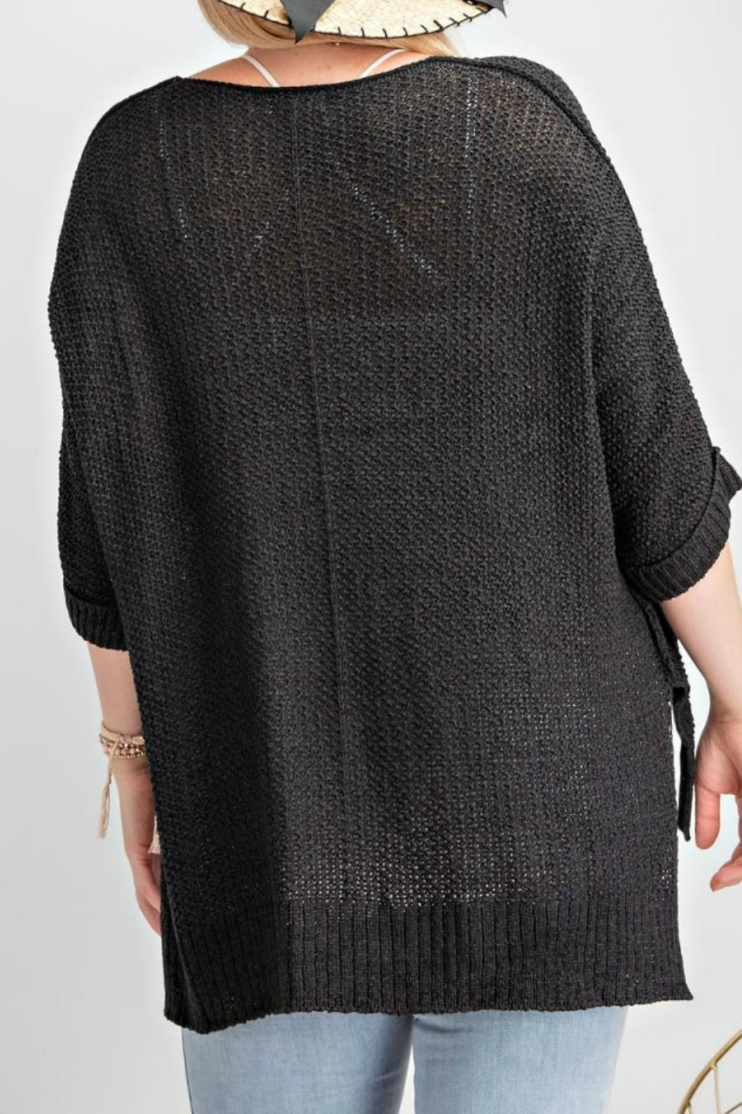 easel Black Sweater Top - Back Cropped Image