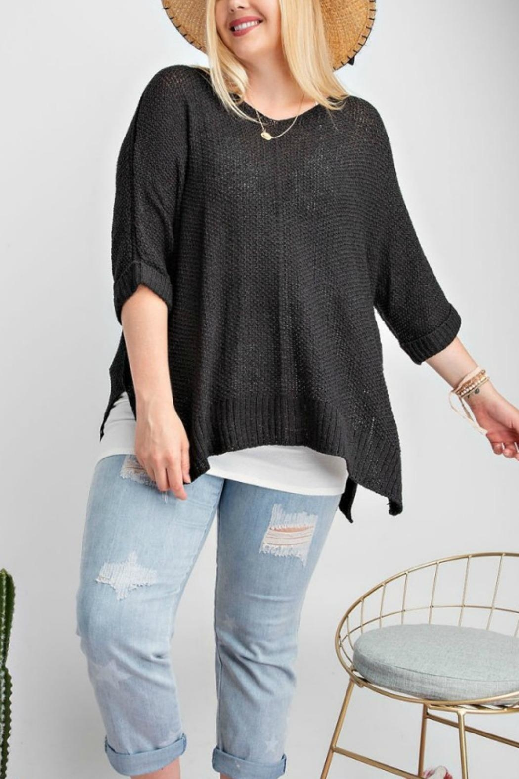 easel Black Sweater Top - Main Image