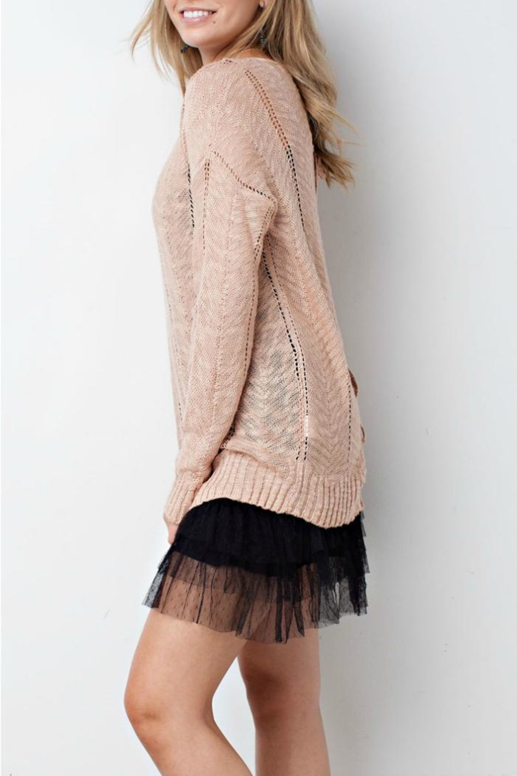 easel Blush Sweater - Side Cropped Image