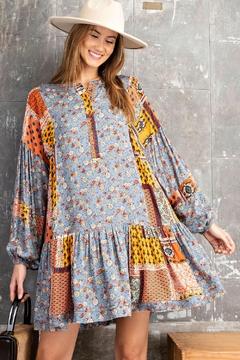 Shoptiques Product: Bohemian Vintage Flower Patchwork Print Baby Doll Dress