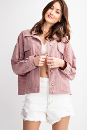 easel Easel Boxy Pinstripe Button front Blazer - Product Mini Image