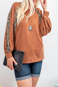 easel Brushed-Knit Leopard Pullover - Product List Image