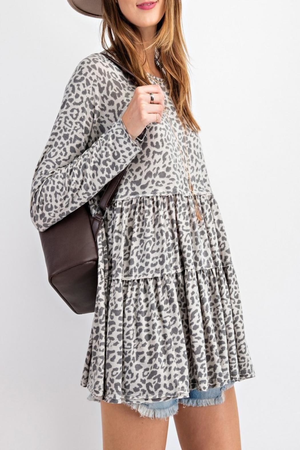 easel Burnout Animal-Print Tunic - Side Cropped Image