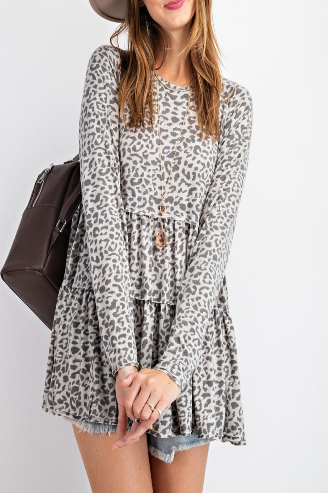 easel Burnout Animal-Print Tunic - Back Cropped Image