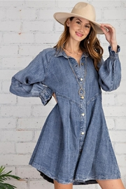 easel Button Down Front Soft Washed Denim Shirt A Line Mini Dress - Front cropped