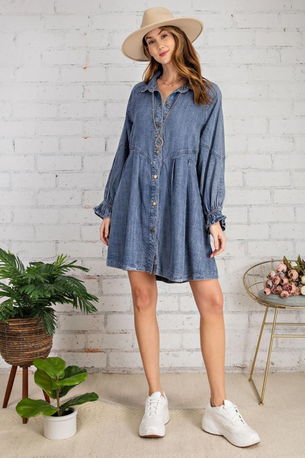 easel Button Down Front Soft Washed Denim Shirt A Line Mini Dress - Back Cropped Image