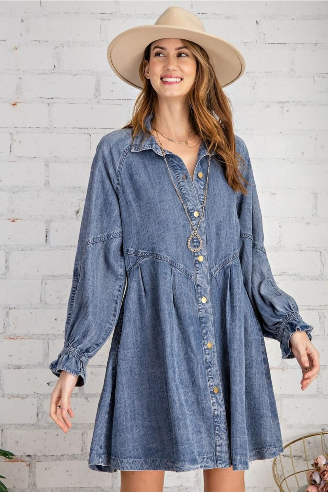 easel Button Down Front Soft Washed Denim Shirt A Line Mini Dress - Front Full Image