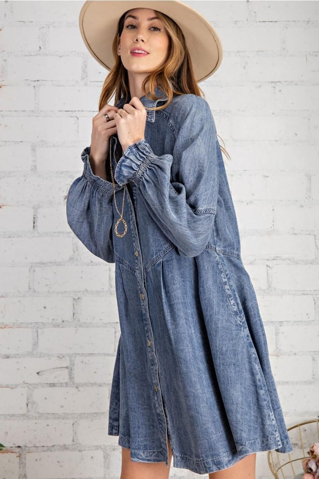 easel Button Down Front Soft Washed Denim Shirt A Line Mini Dress - Side Cropped Image