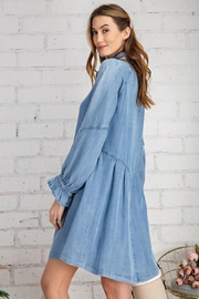 easel Button Down Front Soft Washed Denim Shirt A Line Mini Dress - Back cropped