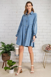 easel Button Down Front Soft Washed Denim Shirt A Line Mini Dress - Side cropped