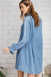 easel Button Down Front Soft Washed Denim Shirt A Line Mini Dress - Other