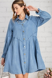 easel Button Down Front Soft Washed Denim Shirt A Line Mini Dress - Front full body