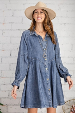Shoptiques Product: Button Down Front Soft Washed Denim Shirt A Line Mini Dress