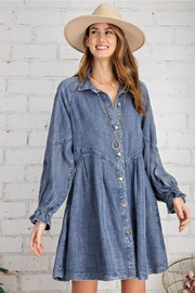 easel Button Down Front Soft Washed Denim Shirt A Line Mini Dress - Product Mini Image