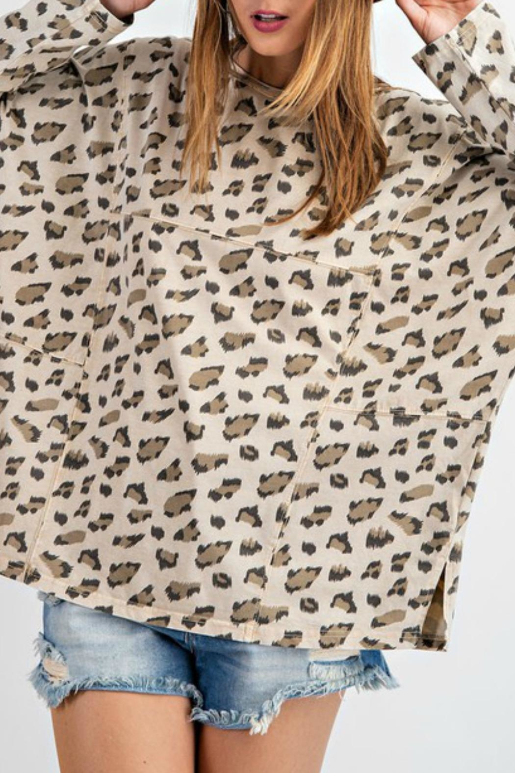 easel Carly Leopard Top - Side Cropped Image