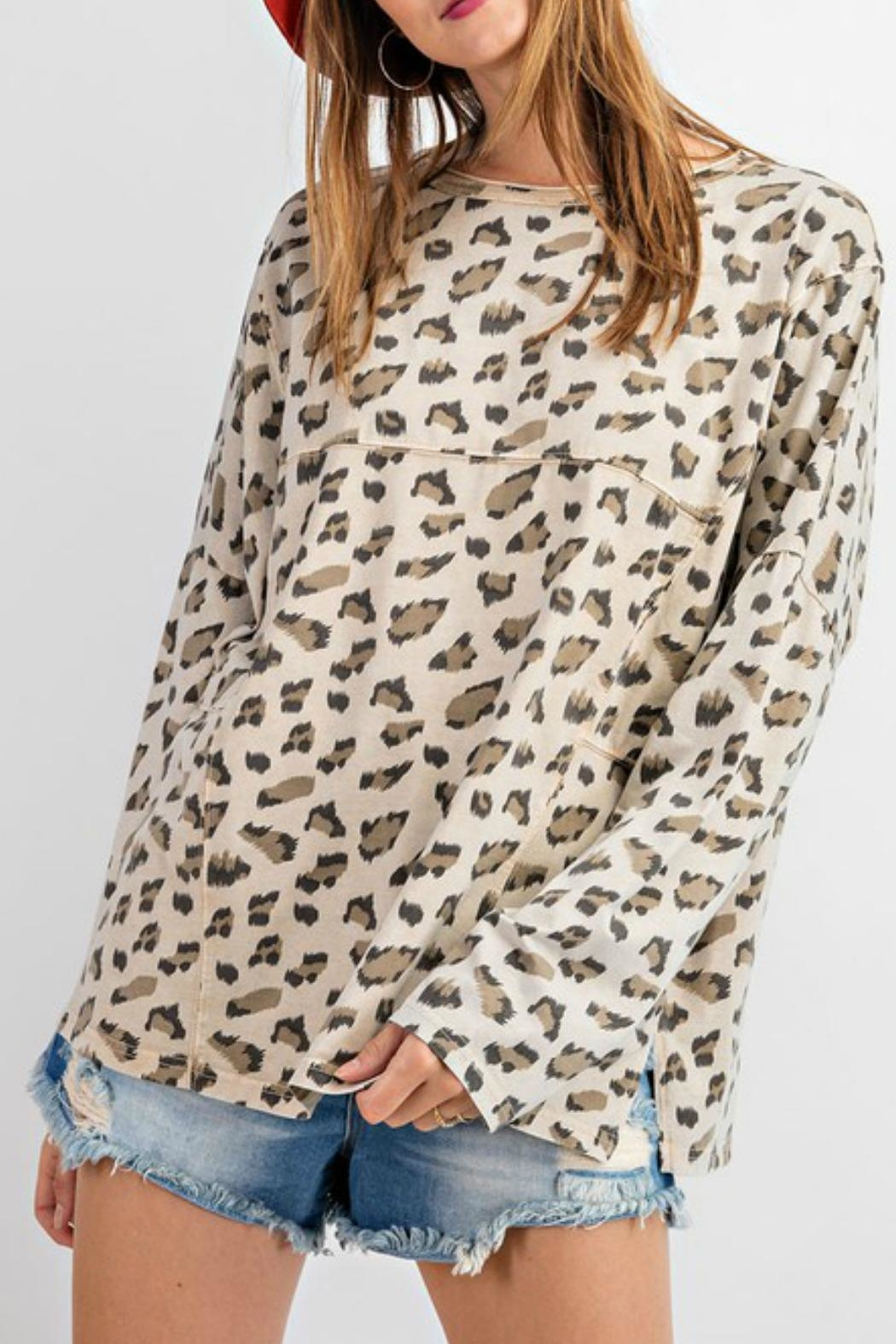easel Carly Leopard Top - Back Cropped Image