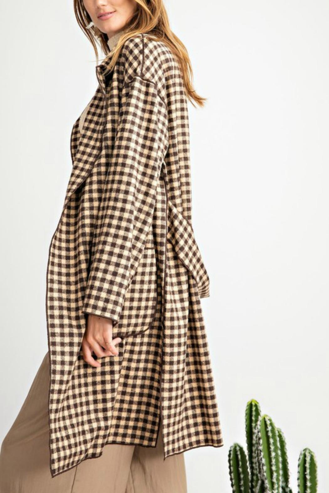 easel Classy Plaid Coat - Side Cropped Image