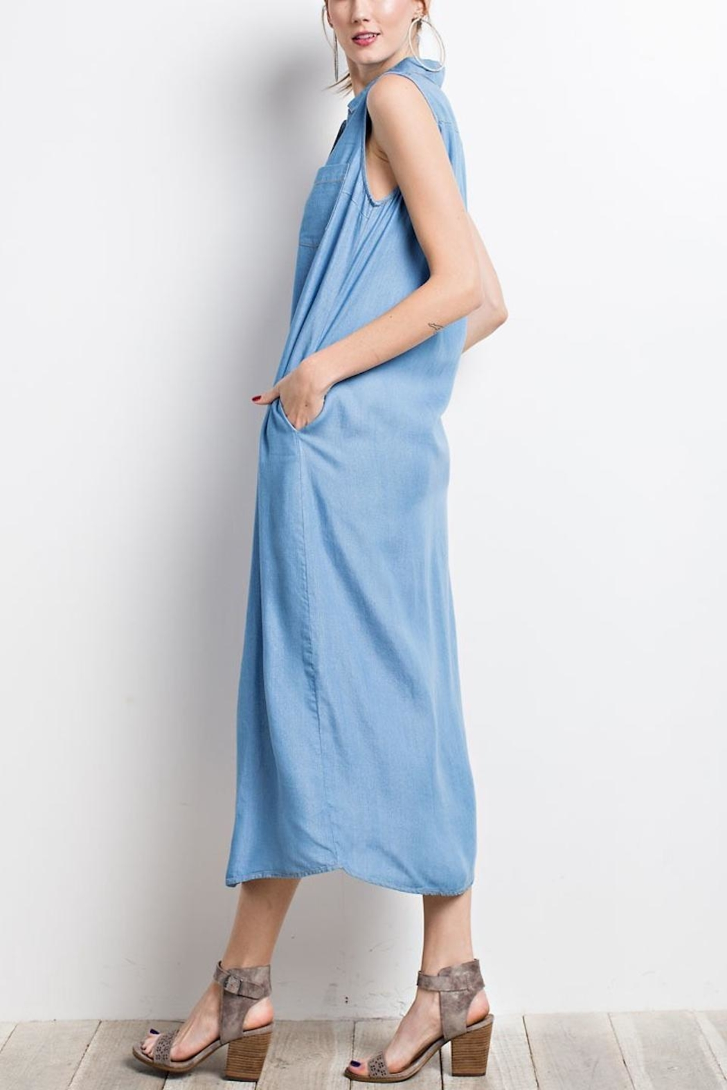 easel Chambray Shirt Dress - Side Cropped Image