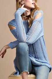 easel Cold Shoulder Knitted Sweater - Front full body