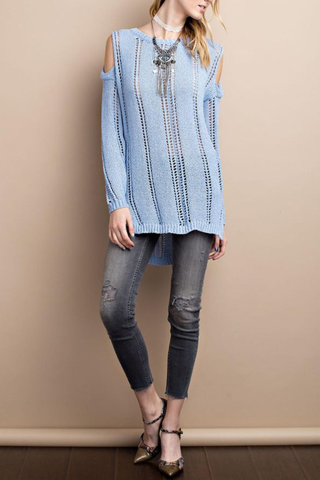 easel Cold Shoulder Knitted Sweater - Side Cropped Image