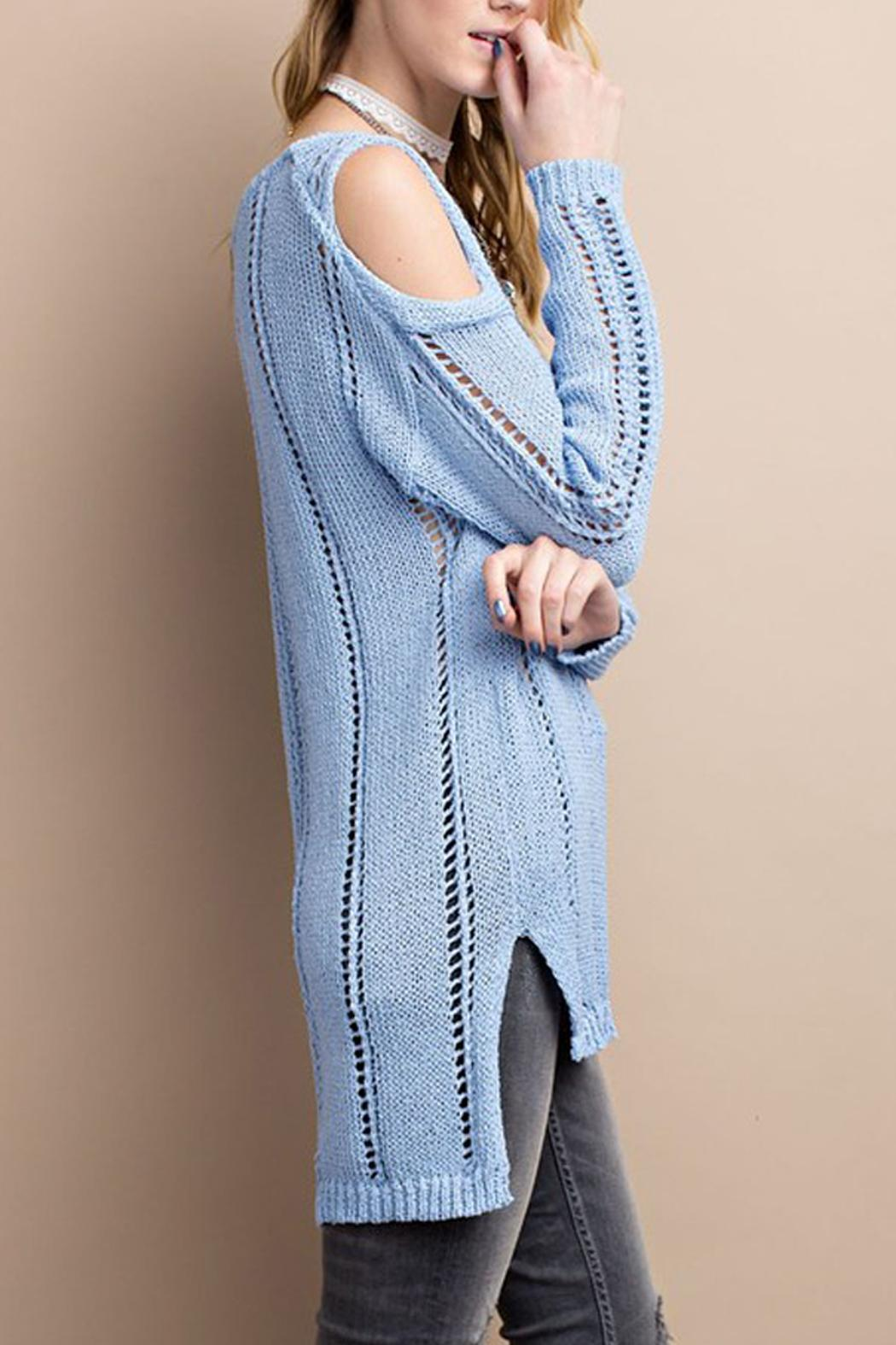 easel Cold Shoulder Knitted Sweater - Back Cropped Image