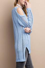 easel Cold Shoulder Knitted Sweater - Back cropped