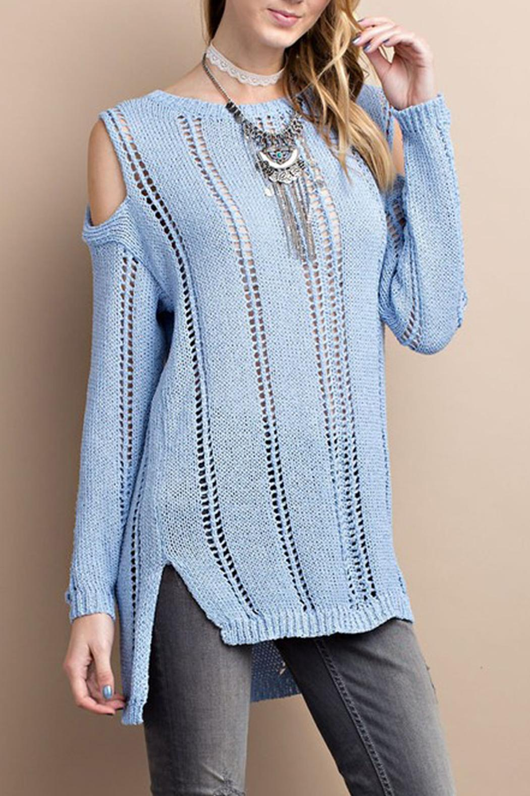 easel Cold Shoulder Knitted Sweater - Main Image