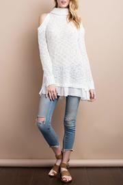 easel Cold-Shoulder Sweater Top - Product Mini Image