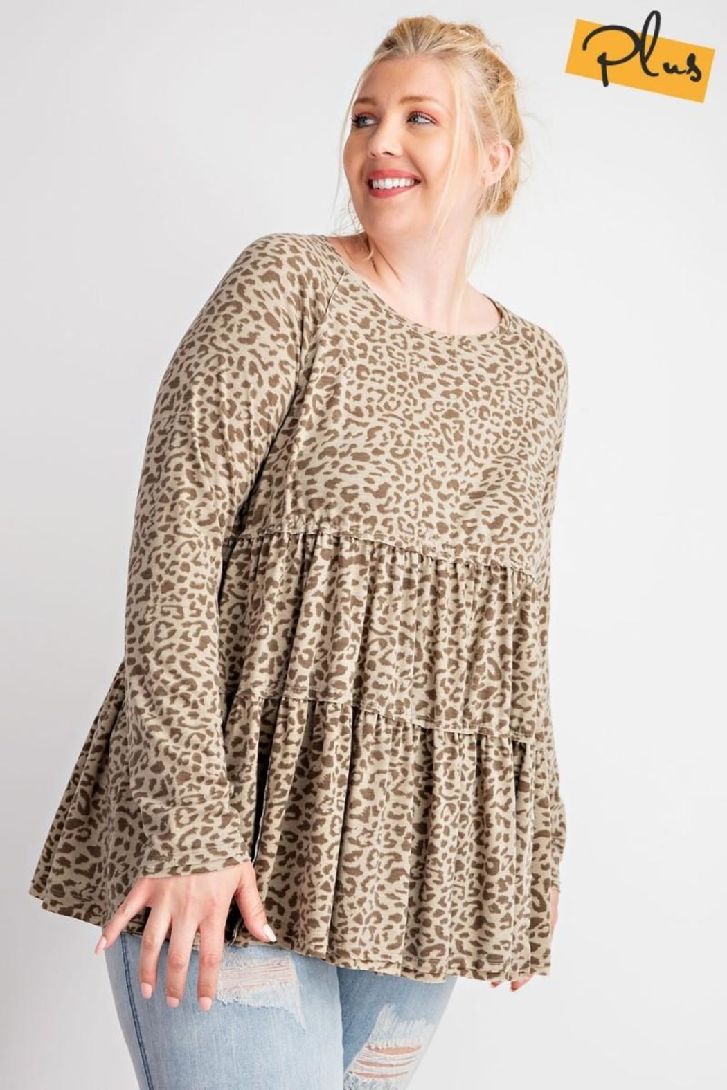 easel Cheetah Ruffled Babydoll - Side Cropped Image